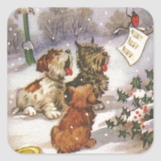 Caroling Dogs in the Snow Square Sticker