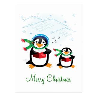 Caroling Penguins - Deck the Halls Postcard