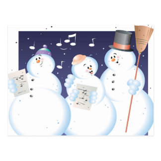 Caroling snow people  Color  Illustrator Postcard