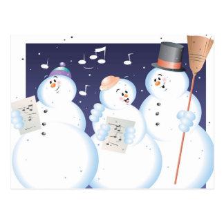 Caroling snow people  Color  Illustrator Postcard