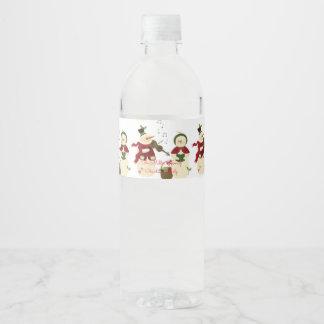 Caroling Snowmen Christmas Ornaments Water Bottle Label