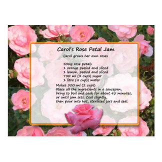 Carol's Rose Petal Jam Recipe Postcard