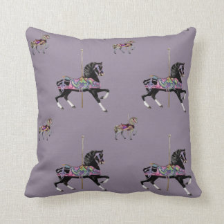 Carousal Horse Lavender Throw Pillow