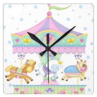 Carousel Baby Wall Clock