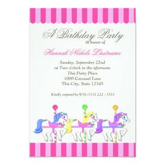 Carousel Birthday Pink Card