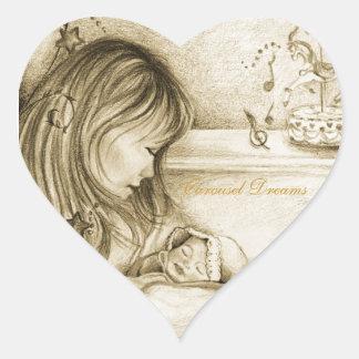 Carousel Dreams Heart Stickers