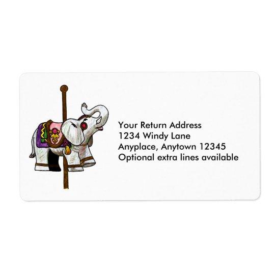 Carousel Elephant Label