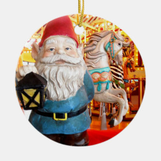 Carousel Gnome Round Ceramic Ornament