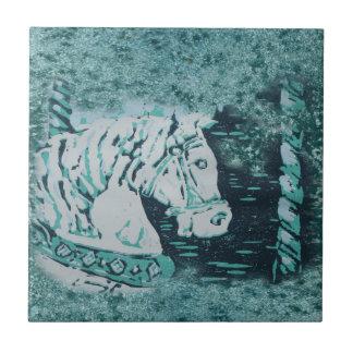 Carousel Horse Aquamarine Tile