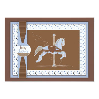 Carousel Horse Baby Boy Shower Inviation Card