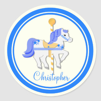 Carousel Horse Blue Gold Stars Classic Round Sticker