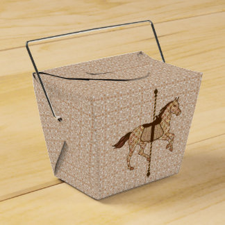 Carousel Horse - Chocolate Brown and Tan Favor Box