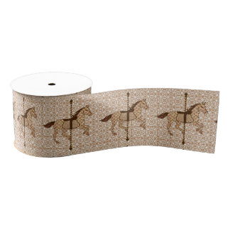 Carousel Horse - Chocolate Brown and Tan Grosgrain Ribbon
