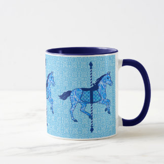 Carousel Horse - Cobalt and Sky Blue Mug