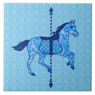 Carousel Horse - Cobalt and Sky Blue Tile