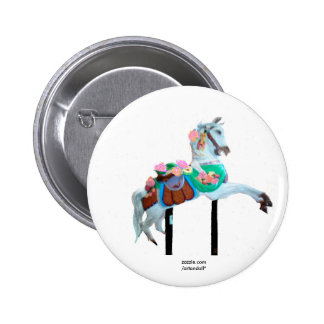 """CAROUSEL HORSE CUSTOMIZED BUTTON"" 2 INCH ROUND BUTTON"