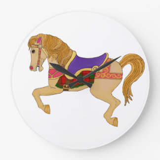 carousel horse large clock