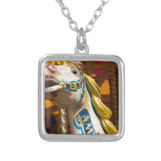 Carousel horse on merry goround silver plated necklace