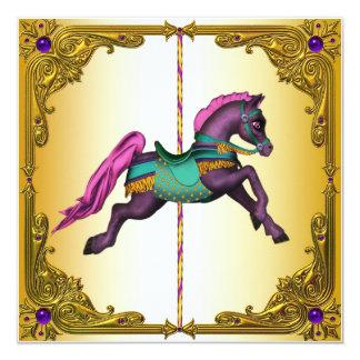 Carousel Horse Purple Pony Birthday Party Card