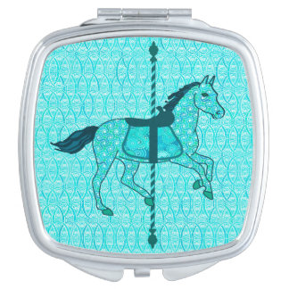 Carousel Horse - Turquoise and Aqua Mirror For Makeup