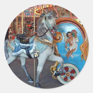 Carousel Horse with Cherub! Round Sticker