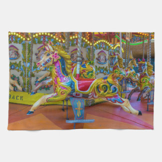 Carousel horses kitchen towel