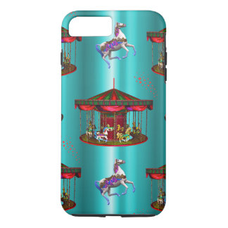 Carousel Horses on Blue iPhone 8 Plus/7 Plus Case
