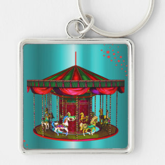 Carousel Horses on Blue Keychain