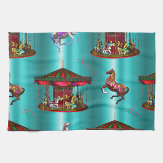 Carousel Horses on Blue Kitchen Towel