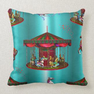 Carousel Horses on Blue Throw Pillow