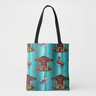 Carousel Horses on Blue Tote Bag