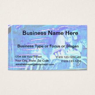 carousel horses streaked blue business card