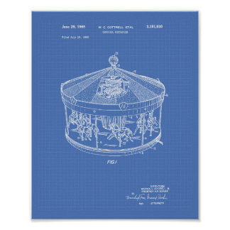 Carousel Mechanism 1965 Patent Art Blueprint Poster