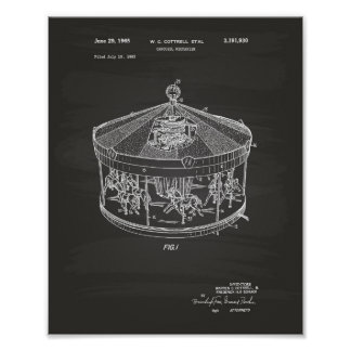 Carousel Mechanism 1965 Patent Art Chalkboard Poster