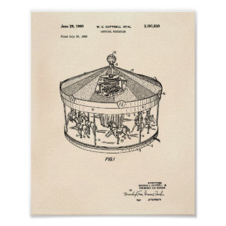 Carousel Mechanism 1965 Patent Art Old Peper Poster
