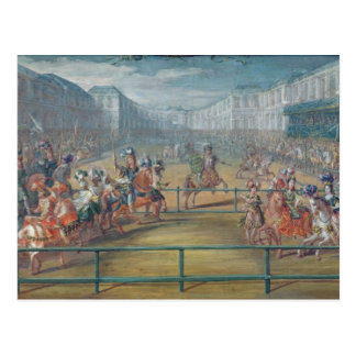 Carousel of Amazons in 1682 Postcard