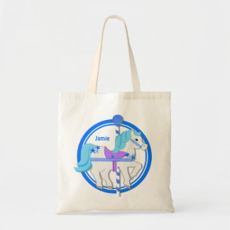 Carousel Pony Blue with Stars Tote Bag