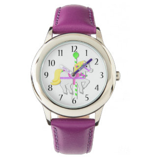 Carousel Pony Purple Wrist Watches