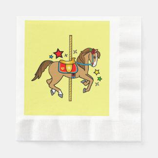 Carousel Pony with Stars Birthday Paper Napkin