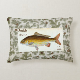 Carp Fish Pinecones Throw Pillow