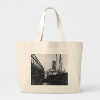 Carpathia in dock in New York 1912 Large Tote Bag
