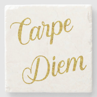 Carpe Diem Gold Faux Glitter Metallic Sequins Stone Coaster