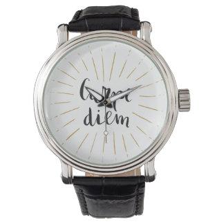 Carpe Diem Hand-lettered Typography Design Wristwatches