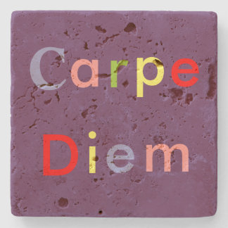 """CARPE DIEM"" IN MULTI-COLORED LETTERS STONE COASTER"