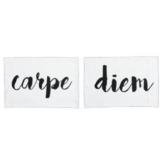 Carpe Diem Inspirational Quote Pillowcase Set