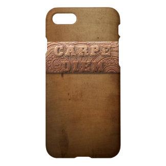 Carpe Diem Metal Look Badge Steampunk Design iPhone 7 Case