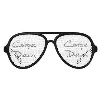 CARPE DIEM Modern Cool Text Aviator Sunglasses