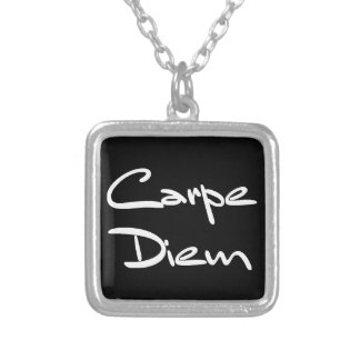 CARPE DIEM Modern Cool Text Silver Plated Necklace
