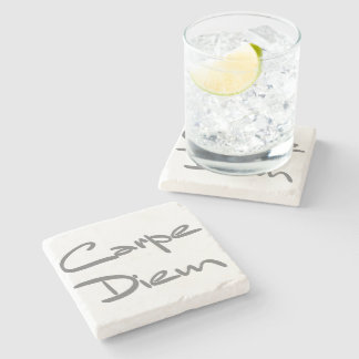 CARPE DIEM Modern Cool Text Stone Coaster