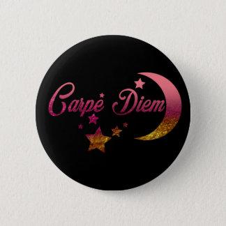 Carpe Diem Moon and Stars 2 Inch Round Button